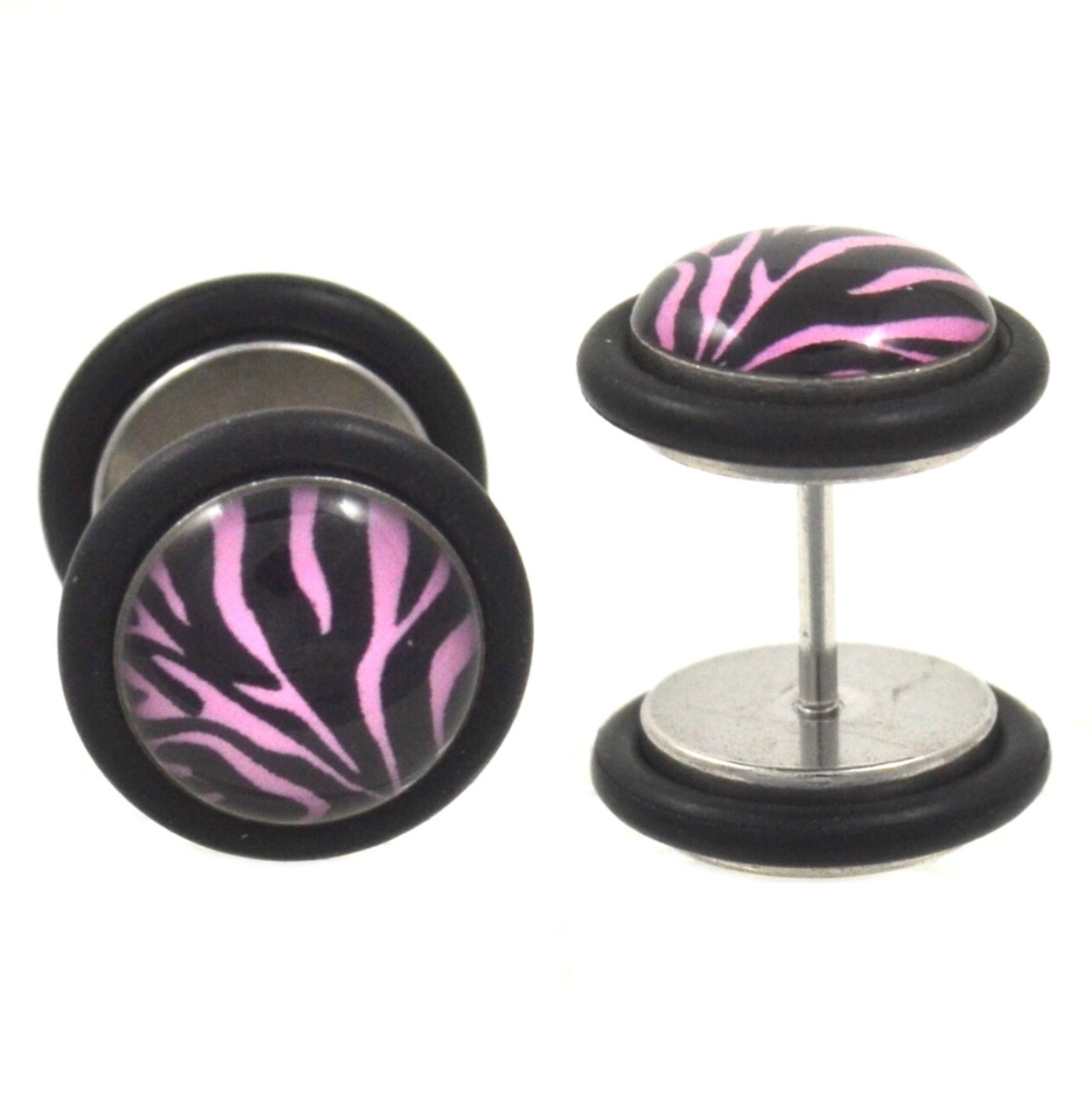Black Amp Pink Zebra Fake Plug Earrings 00g Look