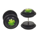 Green 4 Leaf Clover Fake Plug Earrings (00g Look)