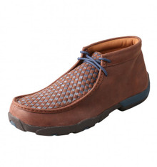 Twisted X Mens Driving Mocs Neon Blue Yellow Basket Weave