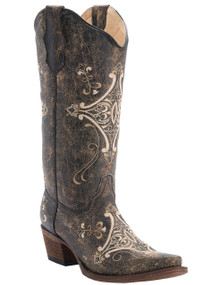 Ladies Circle G by Corral Chocolate Crackle w/Bone Embroidery Snip Toe Western Boots