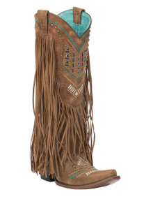 Ladies Corral Tan/Multicolor Swarovsky Pattern and Fringe Boots