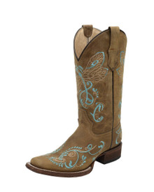 Ladies Circle G by Corral Tan with Turquoise Dragonfly Embroidery Square Toe Western Boots