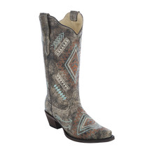 Ladies Corral Black-Bone Multi Color Diamond Boots