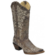 Ladies Corral Brown Crater Bone Embroidery Boots