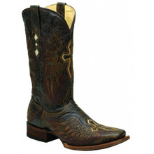 Men's Corral Brown & Brown-Bone Wing and Cross Square Toe Boots