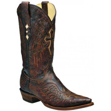 Men's Corral Brown & Brown-Bone Wing and Cross Boots