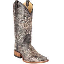 Ladies Circle G by Corral Brown Crackle Bone Embroidery Square Toe Boots