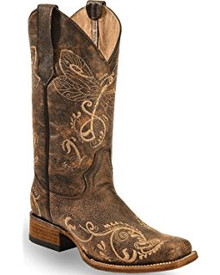 Ladies Circle G by Corral Distressed Brown-Bone Dragonfly Embroidery Square Toe Boots