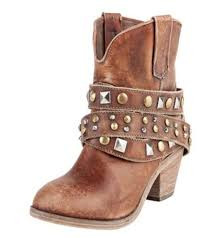 Ladies Circle G by Corral Antique Saddle Studded Strap Ankle Boots
