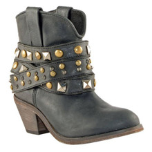 Ladies Circle G by Corral Black Studded Strap Ankle Boots