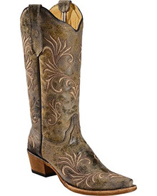 Ladies Circle G by Corral Distressed Green/Golden Filigree Boots