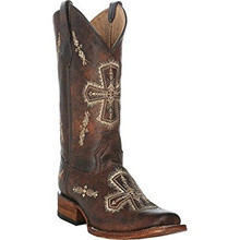 Ladies Circle G by Corral Brown Crackle Bone Cross Embroidery Square Toe Boots