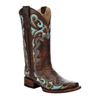 Ladies Circle G by Corral Brown & Turquoise Side Embroidery Square Toe Boots