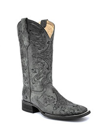 Ladies Circle G by Corral Black & Grey Embroidery Wide Square Toe Boots
