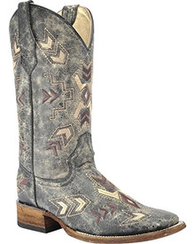 Ladies Circle G by Corral Black & Bone Arrowhead Wide Square Toe Boots