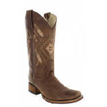 Ladies Circle G by Corral Chocolate Ethnic Embroidery Square Toe Boots