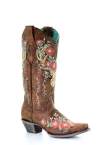 Tan Deer Skull Embroidered Boot A3652