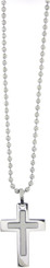 STAINLESS STEEL LARGE RAISED CHRISTIAN CROSS PENDANT ON 2.4MM 18 INCH BALLCHAIN