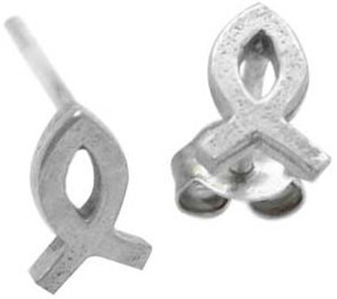 STERLING SILVER CHRISTIAN ICHTHUS FISH POST EARRINGS.