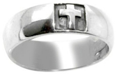 STERLING SILVER LARGE CHRISTIAN CROSS RING STYLE 487