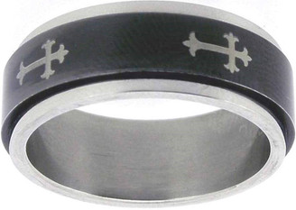 RING STYLE 303 BLACK STAINLESS STEEL ORTHODOX CROSS SPIN RING