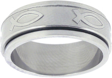 RING STYLE 304 STAINLESS STEEL ICHTHUS SPIN RING