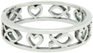 STERLING SILVER CUTOUT ICHTHUS AND HEART RING STYLE 483