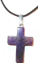 "GEMSTONE AMETHYST CROSS NECKLACE ON 31"" ADJUSTABLE BLACK CORD"