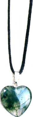 """MOSS AGATE HEART NECKLACE ON 31"""" ADJUSTABLE BLACK CORD-NON-RETURNABLE"""