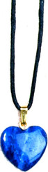 "SODALITE HEART NECKLACE ON 31"" ADJUSTABLE BLACK CORD-NON-RETURNABLE"