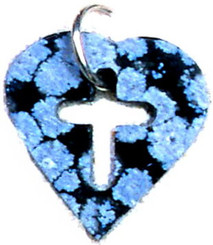 "SNOWFLAKE OBSIDIAN CROSS/HEART TAG NECKLACE ON 31"" CORD"