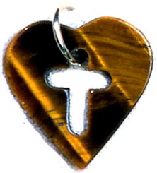 "TIGER EYE CROSS/HEART TAG NECKLACE ON 31"" BLACK CORD (NON-RETURNABLE)"
