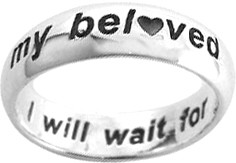 "STERLING SILVER ARIAL ""I WILL WAIT FOR MY BELOVED"" PURITY RING STYLE 828"
