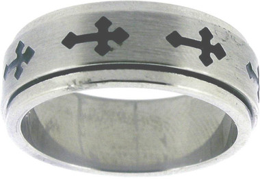 RING STYLE 329 STAINLESS STEEL CROSS SPIN RING