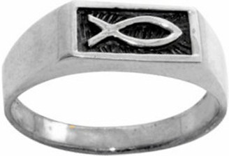 RING STYLE 381 STAINLESS STEEL ICHTHUS WITH ENAMELED BACKGROUND RING