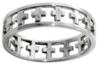 RING STYLE 384 STAINLESS STEEL CUTOUT CROSS RING