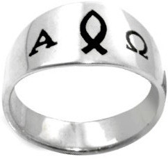 RING STYLE 385 STAINLESS STEEL ENAMELED ICHTHUS/ALPHA & OMEGA RING