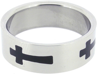 RING STYLE 348 STAINLESS STEEL ENAMELED CROSS RING
