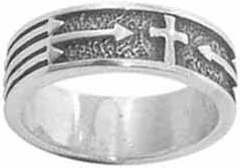 STERLING SILVER CROSS W/OXIDIZED BACKGROUND AND ARROWS RING STYLE 814