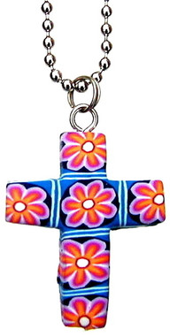 "PINK FIMO FLOWERED CROSS NECKLACE ON 18"" CHAIN"