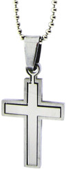 "STAINLESS STEEL SMALL CROSS PUZZLE PENDANT ON 18"" CHAIN"