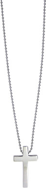 """STAINLESS STEEL CROSS NECKLACE ON 18"""" STAINLESS STEEL CHAIN"""
