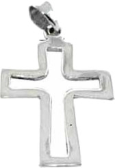 "STERLING SILVER OPEN CROSS PENDANT ON 18"" STAINLESS STEEL NECKLACE CHAIN."