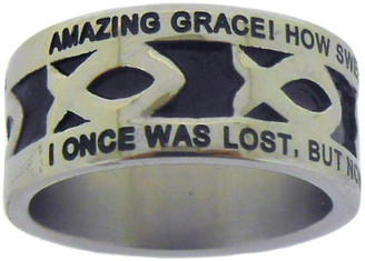 "SILVER STAINLESS STEEL ""AMAZING GRACE"" ICHTHUS RING 393.  ""AMAZING GRACE! HOW SWEET THE SOUND, THAT SAVED A WRETCH LIKE ME!"" ""I ONCE WAS LOST, BUT NOW AM FOUND; WAS BLIND, BUT NOW I SEE."""