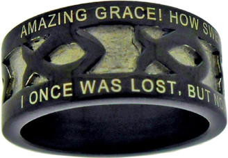 "BLACK STAINLESS STEEL ""AMAZING GRACE"" ICHTHUS RING 394.  ""AMAZING GRACE! HOW SWEET THE SOUND, THAT SAVED A WRETCH LIKE ME!"" ""I ONCE WAS LOST, BUT NOW AM FOUND; WAS BLIND, BUT NOW I SEE."""