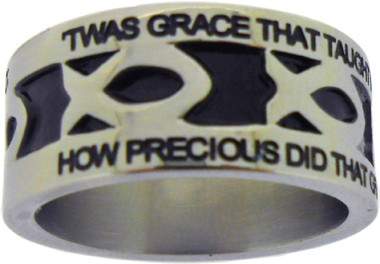 "SILVER STAINLESS STEEL ""AMAZING GRACE"" ICHTHUS RING 395.  ""'TWAS GRACE THAT TAUGHT MY HEART TO FEAR, AND GRACE MY FEARS RELIEVED;""  ""HOW PRECIOUS DID THAT GRACE APPEAR, THE HOUR I FIRST BELIEVED."""