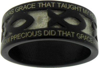 """BLACK STAINLESS STEEL """"AMAZING GRACE"""" ICHTHUS RING 396.  """"'TWAS GRACE THAT TAUGHT MY HEART TO FEAR, AND GRACE MY FEARS RELIEVED;""""  """"HOW PRECIOUS DID THAT GRACE APPEAR, THE HOUR I FIRST BELIEVED."""""""