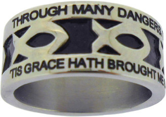 "SILVER STAINLESS STEEL ""AMAZING GRACE"" ICHTHUS RING 397.  ""THROUGH MANY DANGERS, TOILS AND SNARES, I HAVE ALREADY COME;"" ""'TIS GRACE HATH BROUGHT ME SAFE THUS FAR, AND GRACE WILL LEAD ME HOME."""