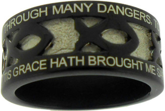"BLACK STAINLESS STEEL ""AMAZING GRACE"" ICHTHUS RING 398.  ""THROUGH MANY DANGERS, TOILS AND SNARES, I HAVE ALREADY COME;"" ""'TIS GRACE HATH BROUGHT ME SAFE THUS FAR, AND GRACE WILL LEAD ME HOME."""