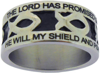 "SILVER STAINLESS STEEL ""AMAZING GRACE"" ICHTHUS RING 399.  ""THE LORD HAS PROMISED GOOD TO ME, HIS WORD MY HOPE SECURES;"" ""HE WILL MY SHIELD AND PORTION BE, AS LONG AS LIFE ENDURES."""